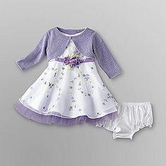 Youngland- -Infant Girl's Dress, Shrug & Diaper Cover - Floral