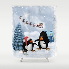 Funny penguin Shower Curtain by