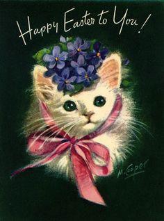 vintage Easter cat; Marjorie Cooper                                                                                                                                                                                 More