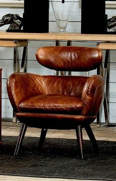 To create its mid-century modern appeal, this Sarreid Sinclair Arm Chair is graced with a streamlined design and upholstered in Cuba brown leather. Leather Furniture, Cool Furniture, Modern Furniture, Furniture Design, Living Room Chairs, Living Room Furniture, Brown Leather Chairs, Cow Leather, Vintage Leather