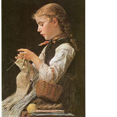 Girl knitting by Albert Anker