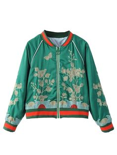 Choies Women's Classic Stripe Detail Embroidery Zipper Bomber Jacket * This is an Amazon Affiliate link. You can find out more details at the link of the image.