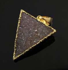 Large Druzy Triangle Pendant in Stunning Earth Tones, Heavy Gold Plated, 29x33mm, A+ Gorgeous Quality, Electroplated Edge (DZY/TRI/114) by Beadspoint on Etsy
