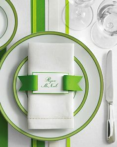 Detailed accents are a must for any college prepster! This place setting comes from Martha Stewart Weddings but it could easily be adapted for a graduation party. How adorable is the grosgrain ribbon?
