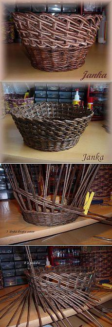 Косое плетение из газет на примере плетеной корзинки