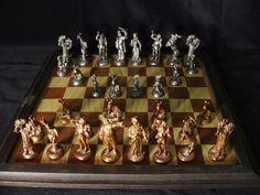 DE: Jagdgesellschaft, Zinn&Kupfer, Patina; EN: Hunt, tin&copper, patina