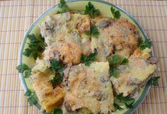 Gombás-hagymás-tojásos csirkemell