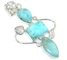 Classy Blue Larimar Sterling Silver Pendant