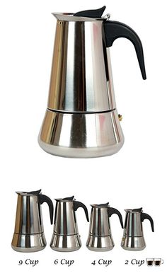 by Mixpresso Mixpresso coffee 9 Cup Coffee Maker Stovetop Espresso Coffee Maker Moka Coffee Pot with Coffee Percolator Design Stainless Steel 15 Ounces,