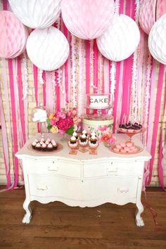 pink dessert table for Bella's birthday