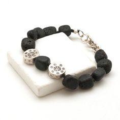 Lava Bracelet Black Lava Rock & Sterling Silver by SunSanJewelry Greek Jewelry, Lava Bracelet, Beaded Bracelets, Necklaces, Black Thread, Silver Rounds, Round Beads, Santorini, Jewelry Collection