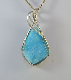 Hemimorphite Druzy Wire Wrapped Pendant in by AmethystRoseCO     Just Stunning!!!!