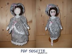 Sweet and Simple Cloth Doll Pattern PDF. Vintage Style Dress. Pattern and   instructions. The face can be painted or embroidered. Rossella Usai