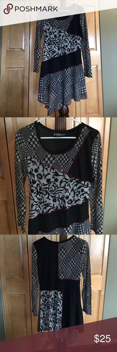 Short Dress/Top Very cute and detailed boutique style dress or top to wear over leggings or nylons. Or wear over skinny jeans. Kind of a sweater type material made but very lightweight. Could not find an interior label with actual material used. As you can see it's got different types of fabric sewn together with red piping. Bottle is made uneven for a fun look. Sleeves are long and straight. It has a scoop neckline. It has a silky slip like lining. Very fun piece to add to your wardrobe…