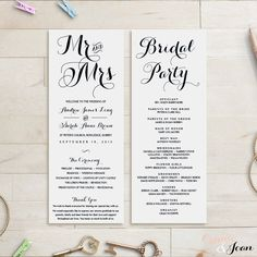 Printable Wedding Program Template  Instant Download  Vintage