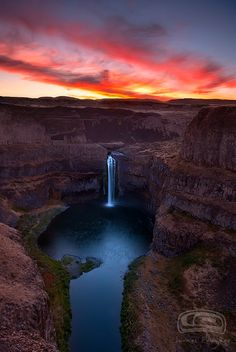 """FIRE FALLS"" - The Palouse Falls in the state Washington at sunset."