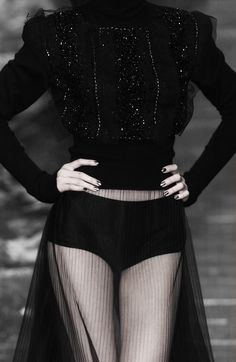 Dark Romance - frill top & long sheer skirt; transparency; all black fashion details