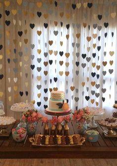 Em tons de azul e dourado Diy Birthday, Birthday Party Decorations, Wedding Decorations, Birthday Parties, Cha Bar, Bridal Shower, Baby Shower, Its My Bday, Ideas Para Fiestas