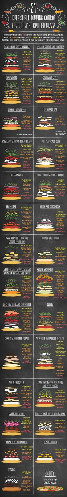 Here are 27 irresistible topping combos for grilled pizza. If you are a pizza lover be sure to check out these topping combos for grilled pizza. Comida Pizza, Grilled Pizza, Grilled Cheeses, Homemade Pie, Pizza Party, Pizza Dough, Pizza Pizza, Pizza 101, Pizza Ovens