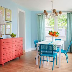 Maybe find an old dresser and painted coral for the dining room?