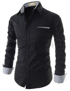 (EVS98-BLACK) Mens Slim Chest Pocket Decoration Patched Stretchy Long Sleeve Shirts