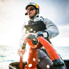 James Spithill, the skipper and helmsman of Oracle Team USA, is wearing Panerai Luminor 1950 Regatta Oracle Team USA 3 Days Chrono Flyback Automatic Titanio while racing at 35th America's Cup