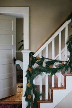evergreen garland, dried orange slice garland, winter decorations