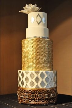 Gold and silver wedding cake