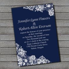 exquisite navy blue lace wedding invitation EWI264 as low as $0.94
