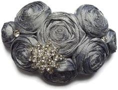 Silk headpiece silver grey with crystals