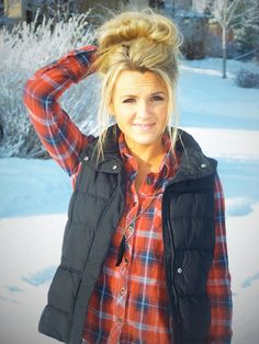 i can't figure out how to make this cute! I always look like a lumber jack! LOL Vest & Flannel. Good outfit when winter comes back around
