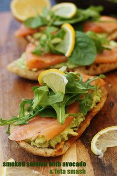 Smoked salmon bruschetta with smashed avocado & feta - the simplest luxurious little lunch!