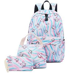 8cd1dfe3dd11 Abshoo Cute Lightweight Teens School Bookbags Unicorn Girls Backpacks With  Lunch Bag (Unicorn Rainbow Blue Set)