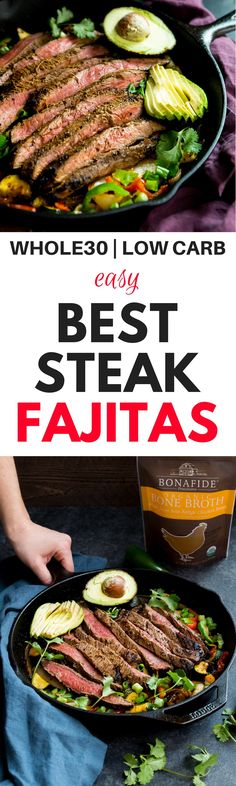 One pan steak fajitas. Fajitas in 30 minutes or less. Paleo steak fajitas recipe here. Healthy, gluten free, dairy free, paleo and steak fajitas recipe. Healthy Beef Recipes, Healthy Meal Prep, Clean Eating Recipes, Real Food Recipes, Healthy Eating, Chickpea Recipes, Whole30 Beef Recipes, Cookie Recipes, Diet Recipes
