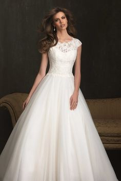 Fabulous Bateau Capped Sleeve Lace Corset A Line Long Train Wedding Dress