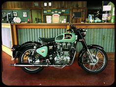 Royal Enfield Classic 350 in Mint Green with black mud guards.  #retrobike