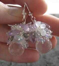Moonstone earrings, lavender opal earrings, blue topaz in sterling $112