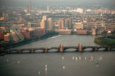 Sky view: The Charles River + Longfellow Bridge + #CambMA (to the left) DiscoverTheCharles.com