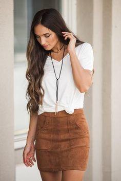 Season's Splendor Suede Skirt in Rust