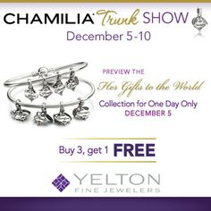 Stop by for a Chamilia Trunk Show December 5-10 and preview the new collection on December 5! Magic Charms, One Day Only, Change Of Heart, Swarovski Crystals, December, Collection