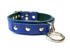 "1"" Blue Leather BDSM slave Collar - Long Strap Bondage Ring"