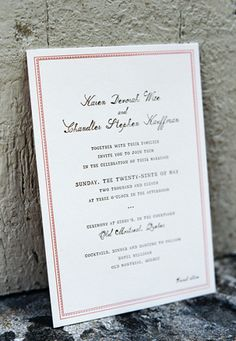 invitation - font, border and wording