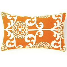 Dress up your decor with this bold decorative pillow. This Floret pillow offers a simple shape with a large orange and white floral print.