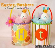 Flowers & Chicks Easter Baskets {Craft} - Echoes of Laughter