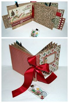 Christmas Snowman Paper Bag Album Scrapbook by KarenGeddings