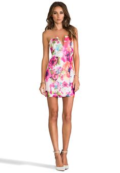 Nookie V-Front Bustier Dress in Flowerpop/White love