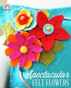 Três espectaculares feltro Tutoriais de flores (No-Sew!) :: PositivelySplendid.com