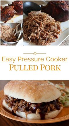 This Easy Pressure Cooker Pulled Pork is so tender it practically falls apart. Served on a bun with a smoky, sweet barbecue sauce, you get the flavor of slow cooked pulled pork in a fraction of the time by cooking in a pressure cooker.