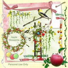Digital Scrapbook Kit - Apple Blossoms - over 200 items