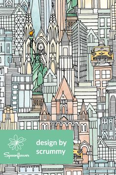 New York Watercolor - Beautiful illustration of New York on fabric, wallpaper, and gift wrap.  This intricate illustration of New York City buildings and landmarks is perfect for making throw pillows, wallpapering a room, or making a New York themed gift.  Hand drawn by indie designer Scrummy, this design is perfect for the New York lover in your life!  #ny #newyork #illustration #draw #drawing #fabric #wallpaper #design #nyc #newyorkcity